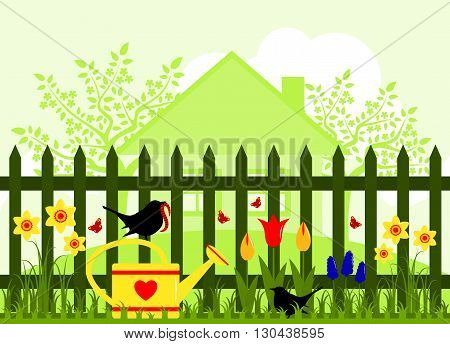 vector spring garden and picket fence with spring flowers