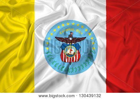 Waving Flag of Columbus Ohio, with beautiful satin background