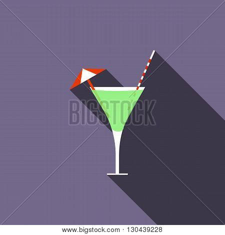 Cocktail icon in flat style on purple background