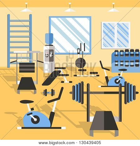 Bodybuilding gym poster fitness room with many sports equipment and mirror for training vector illustration