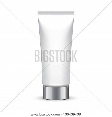 Tube Of Cream Or Gel Grayscale Silver White Clean. Product Packing Vector EPS10. Mock Up Template Ready For Your Design.