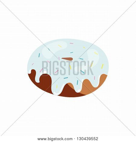 Glazed donut icon in cartoon style on a white background