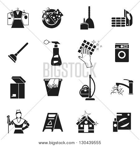 Cleaning black white icons set with spray woman wet floor sign gloves  washing tools isolated vector illustration
