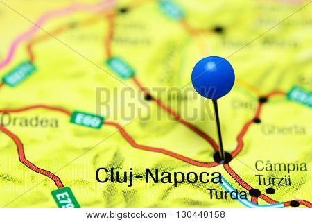 Cluj-Napoca pinned on a map of Romania
