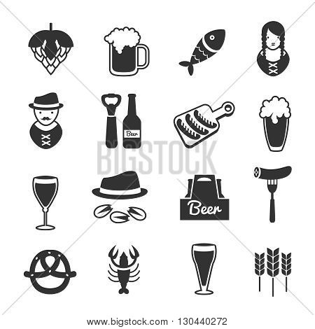 Black beer icon set with description of octoberfest accessories and equipment of people who working in pub vector illustration