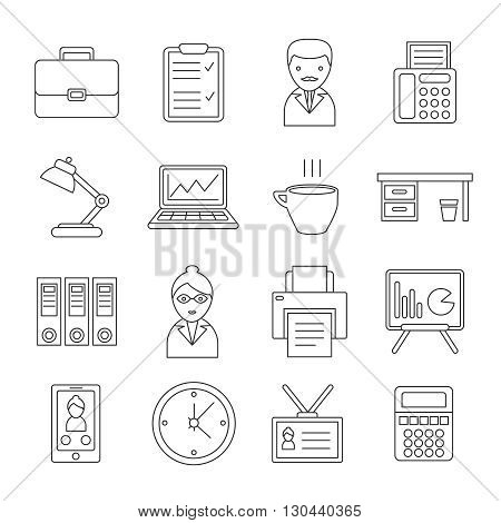Office line icon set with isolated figures of office workers their equipment and stuff vector illustration