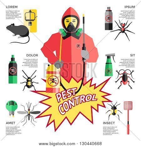 Service for pest control website with worker in protective clothes in center means of destruction vector illustration