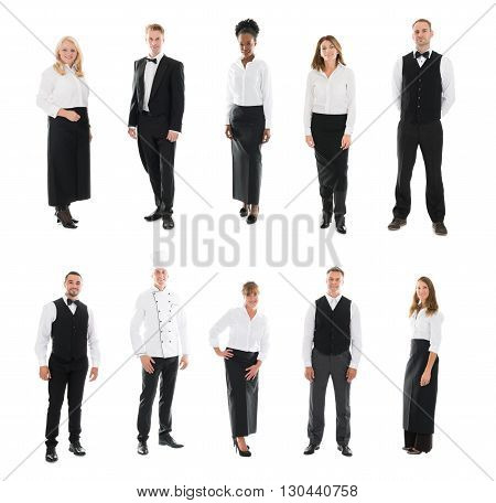 Set Of Restaurant Staff Standing Against White Background