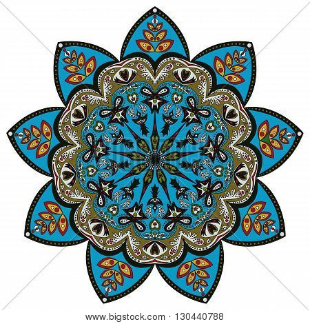 Colorful pattern of ornamental mandala in eastern colors isolated on white. Vector illustration