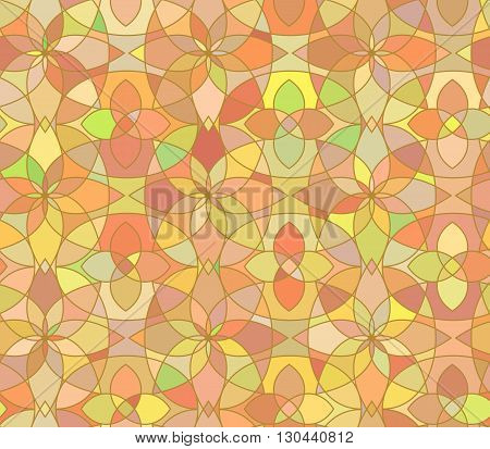 Seamless pattern with stained glass ornament in orange colors. Colorful kaleidoscope background. Vector illustration