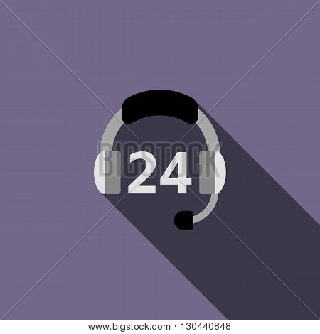 Service Call center for customers available online around the clock icon in flat style on a violet background