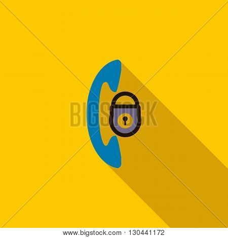 Phone and padlock icon in flat style on a yellow background