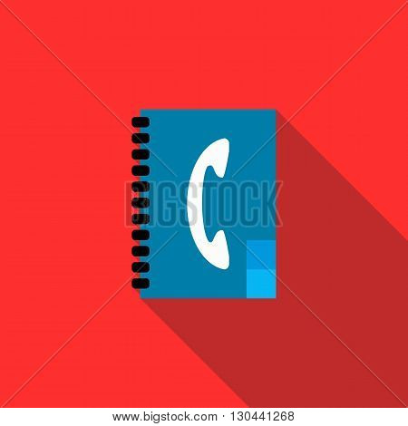 Address book icon in flat style on a red background
