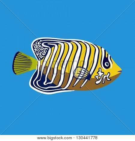 Tropical ocean angel fish, vector illustration