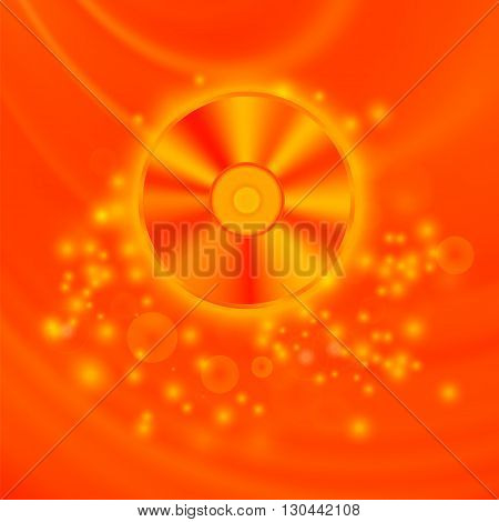 Compact Disc Isolated on Red Wave Blurred Background