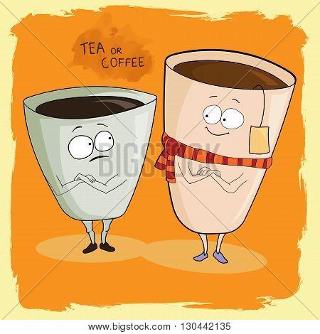 fanny Coffee and tea illustration.  Coffee illustration.  Tea illustration