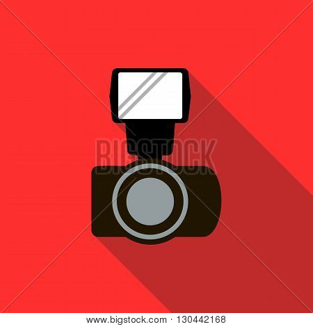 Photo camera and flash icon in flat style on a red background