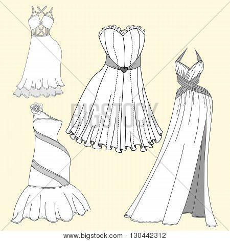 Clothing design. Women's evening dresses. Fashion Flat templates Sketches
