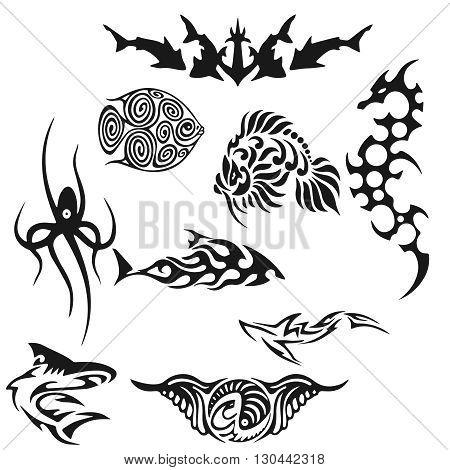 Creative black tattoo illustration. illustration without transparency. Black tattoo. Set of tribal tattoo. Line tribal tattoo.