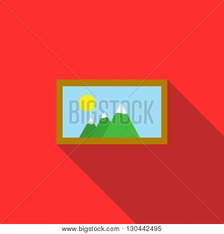 Photo frame icon in flat style on a red background