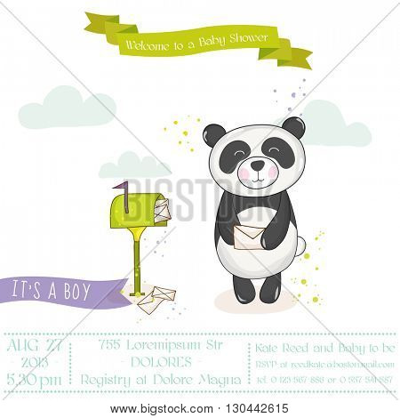 Baby Shower or Arrival Card - Baby Panda with Mailbox- in vector