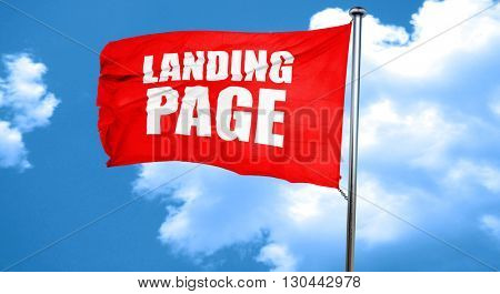 landing page, 3D rendering, a red waving flag