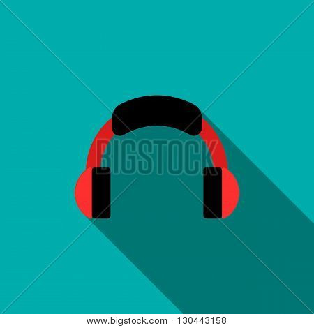 Headphone icon in flat style on a blue background
