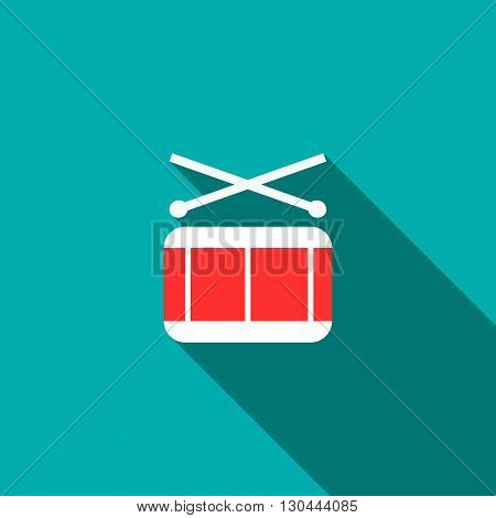 Drum and drumsticks icon in flat style on a blue background