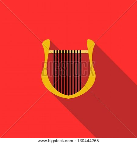 Lyre icon in flat style on a red background