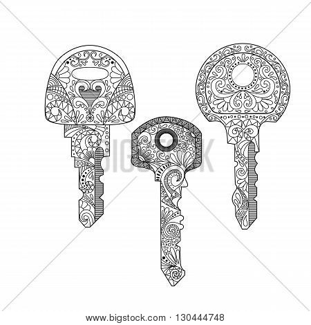 Collection vector illustration key with ornament. Hand drawn ornate key isolated on white background