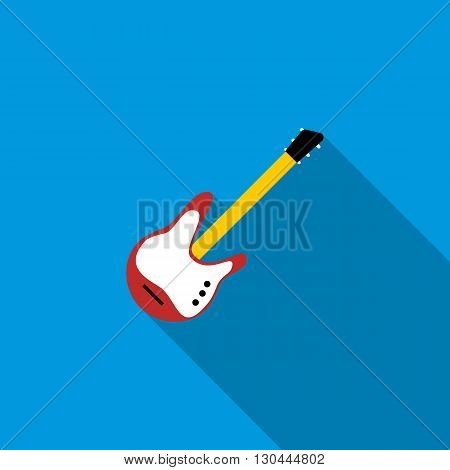 Red electric guitar icon in flat style on a blue background
