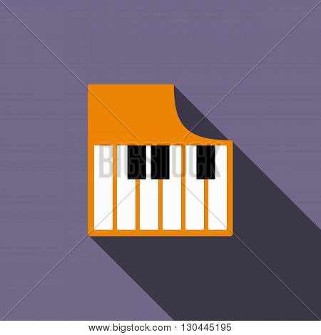 Piano keys icon in flat style on a violet background