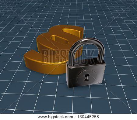 golden paragraph symbol and padlock - 3d rendering