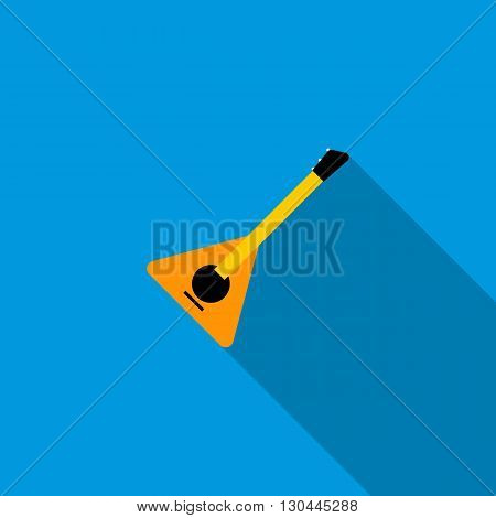 Balalaika icon in flat style on a blue background