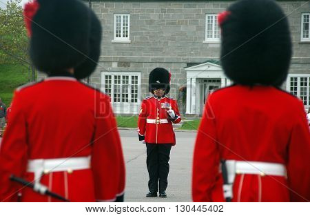 Quebec city,Canada-August 25 th 2013: picture of 3 guards during the Changing of the Guards ceremony at the Citadelle.