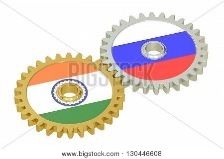 flags of Russia and India on the gears 3D rendering