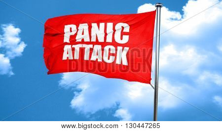 panic attack, 3D rendering, a red waving flag