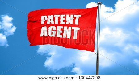 patent agent, 3D rendering, a red waving flag