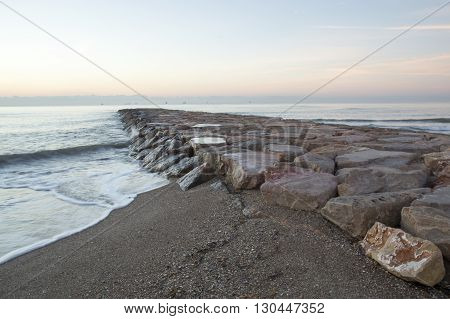 Mediterranean Sea in Castellon de la Plana, Spain.