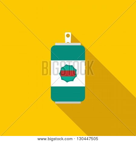 Beer can icon in flat style with long shadow