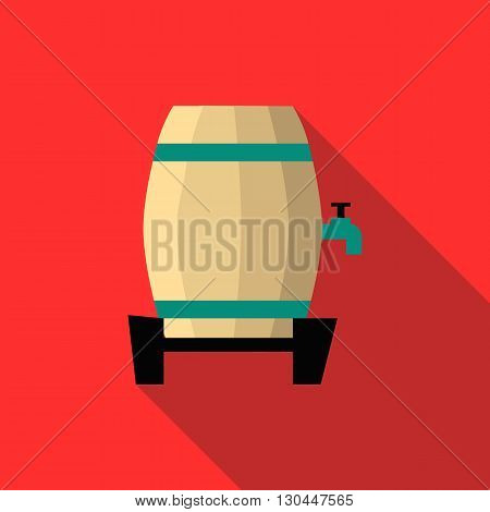 Beer barrel icon in flat style with long shadow