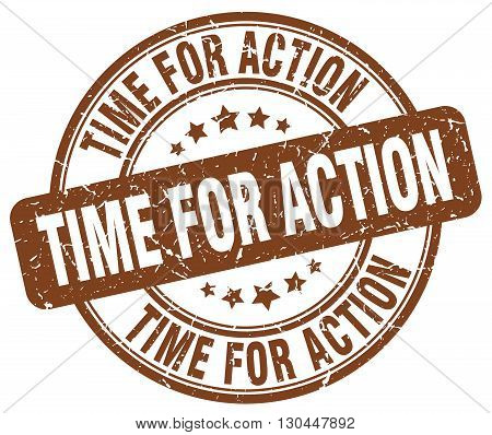 time for action brown grunge round vintage rubber stamp