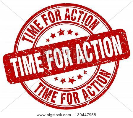 time for action red grunge round vintage rubber stamp