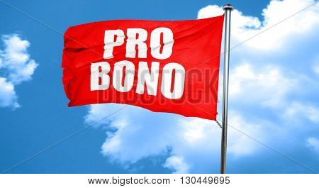 pro bono, 3D rendering, a red waving flag