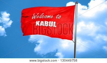 Welcome to kabul, 3D rendering, a red waving flag