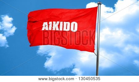 aikido sign background, 3D rendering, a red waving flag