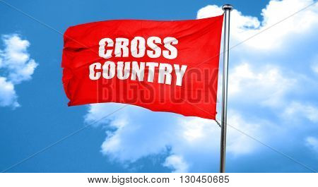 cross country sign background, 3D rendering, a red waving flag