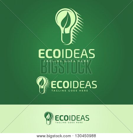 Ecology Ideas Logotype and Tagline. Vector logo template.