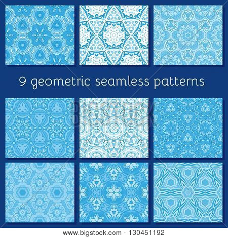 geometric seamless paterns set for winter cards, invitations, posters,