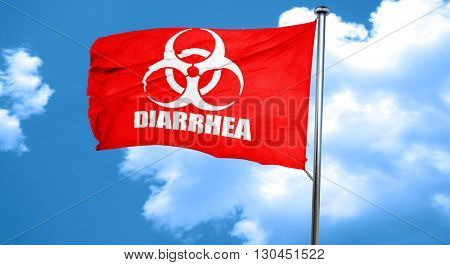 Diarrhea concept background, 3D rendering, a red waving flag